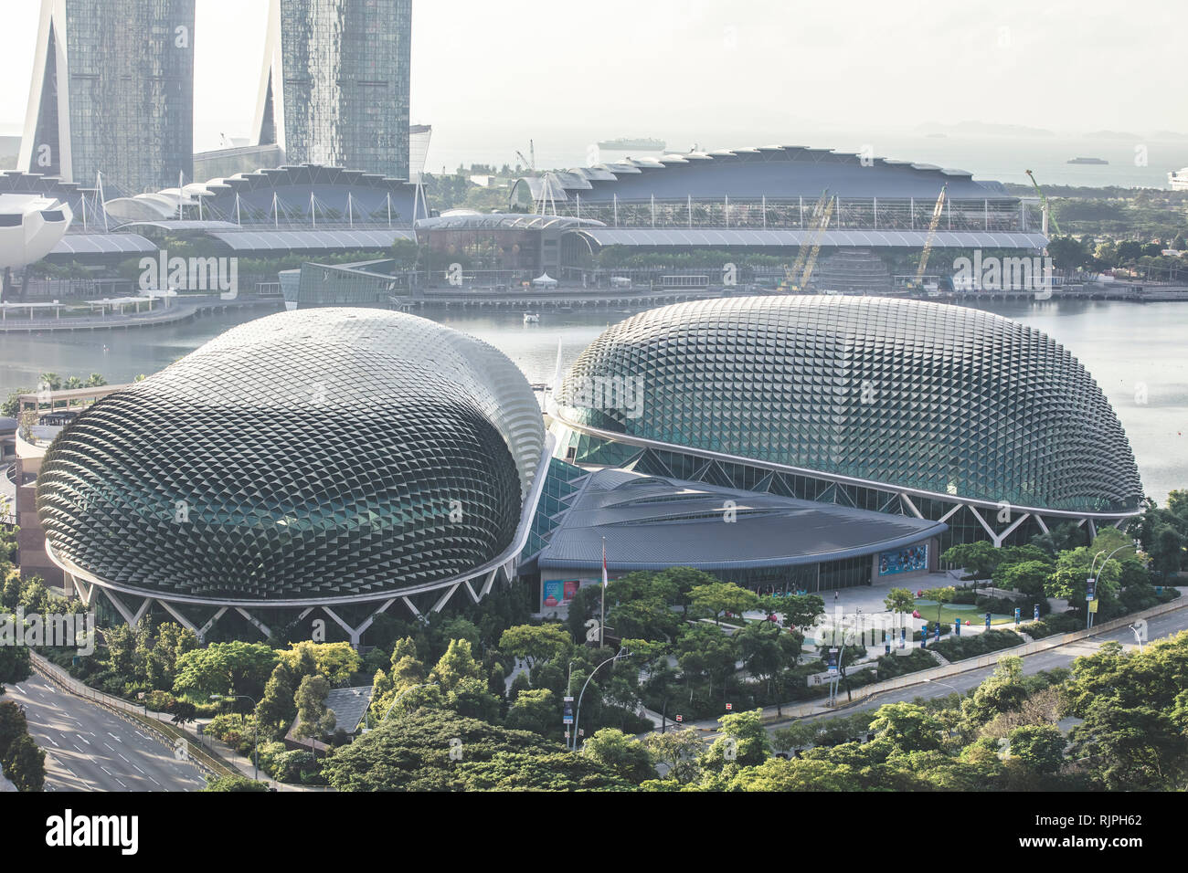Singapore esplanade theatres on the bay architectural close up details aerial view in elegant retro muted colours - Stock Image
