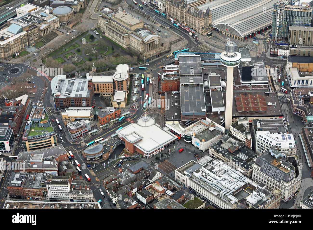 aerial view of St Johns Shopping Centre and surrounding area in Liverpool city centre Stock Photo