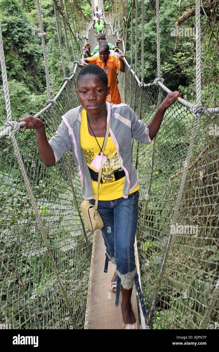 Schoolchildren on the Canopy Walkway, Kakum National Park, Ghana Stock Photo