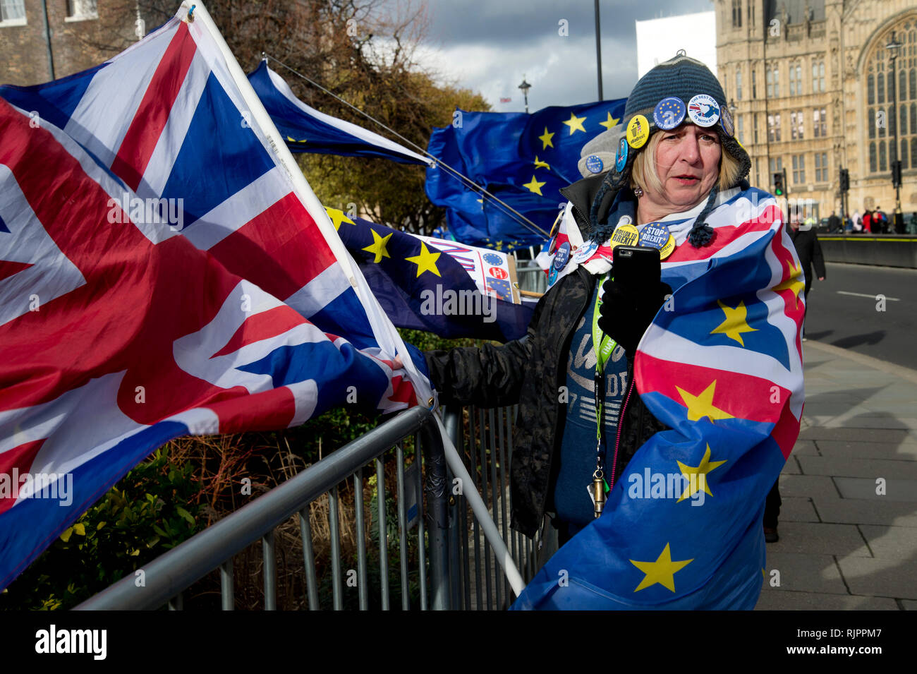 London.Westminster. February 7th 2019. A woman wrapped in a flag, half Union Jack, half European flag protests against leaving the European Union. - Stock Image