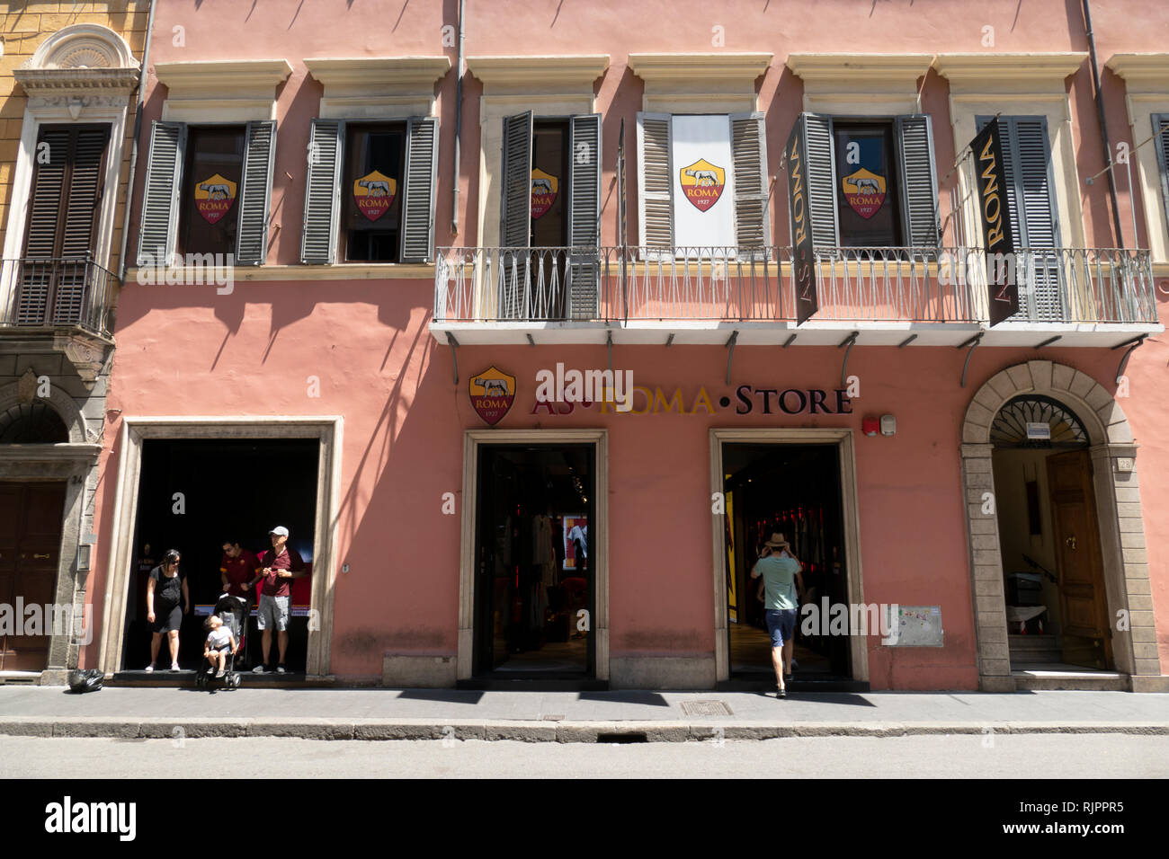fanshop of the soccer club as rome in the old town of rome, italy Stock Photo