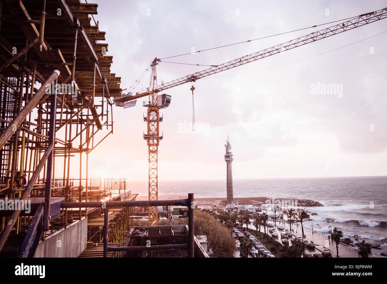 Construction crane on coastal development, Beirut, Lebanon - Stock Image