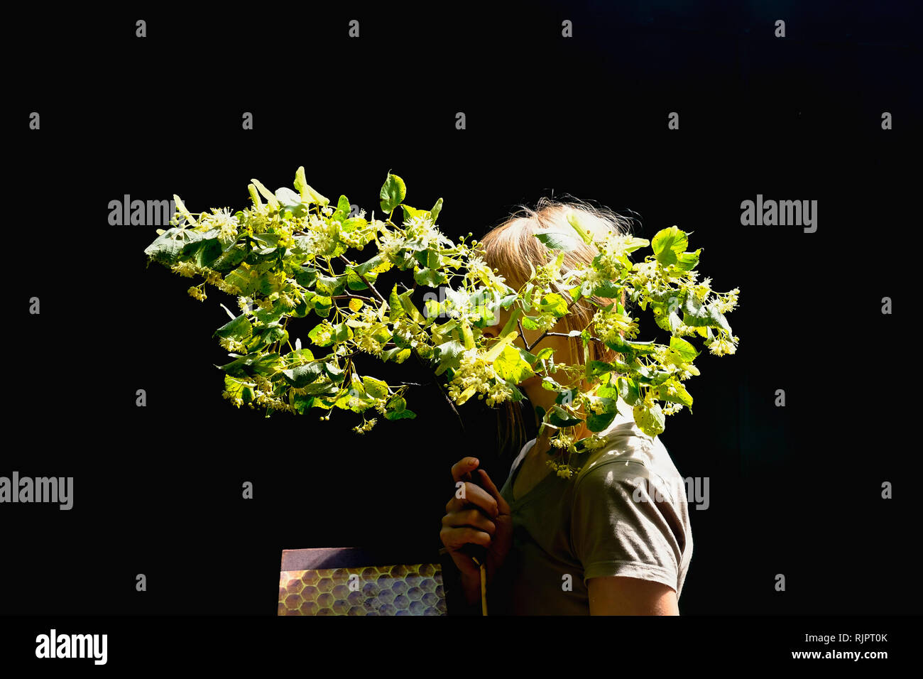 Woman holding twig of green spring blossom in front of face - Stock Image