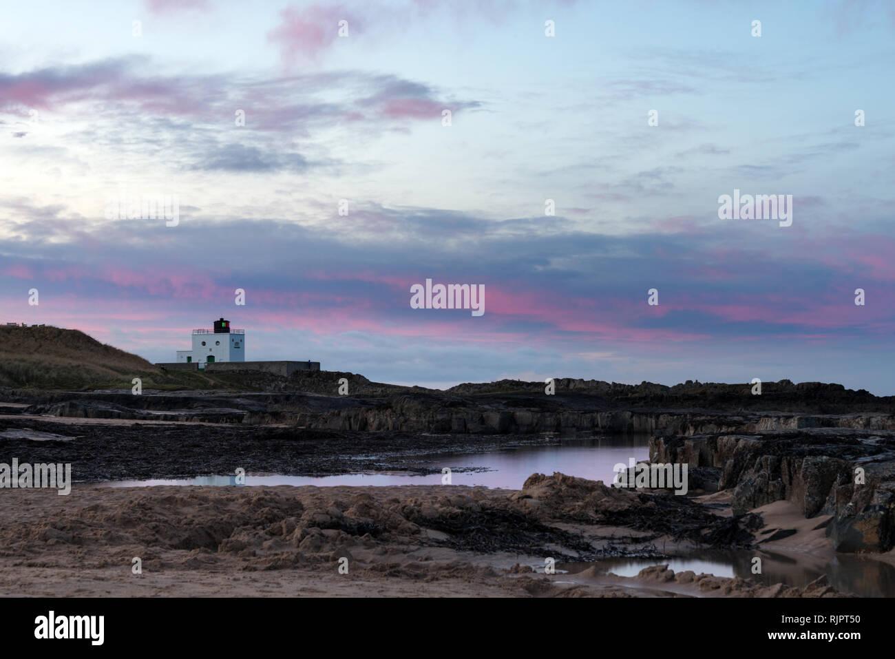 Bamburgh Castle & beach Stock Photo