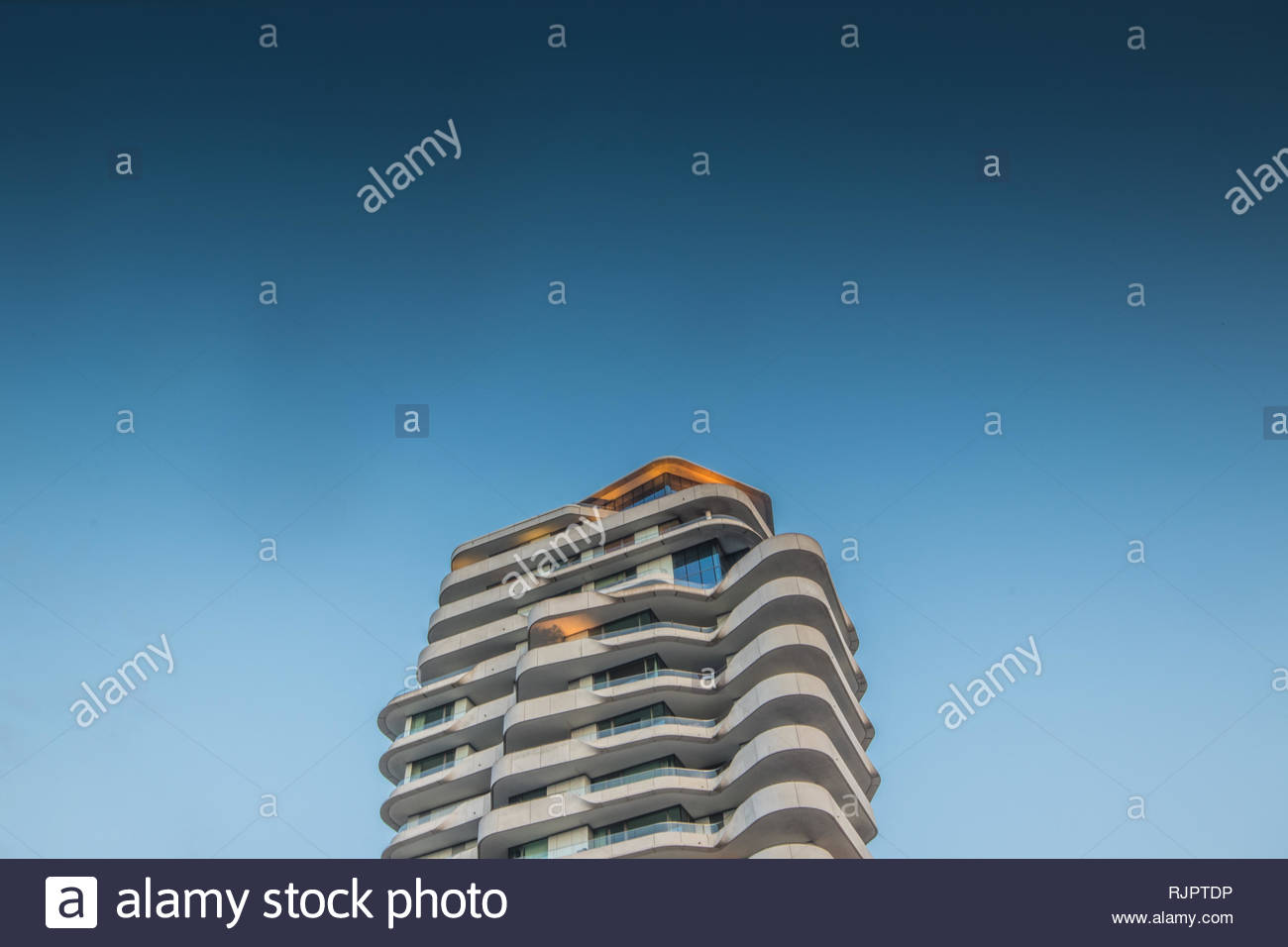 Marco Polo Tower, Hafen City, Hamburg, Germany - Stock Image