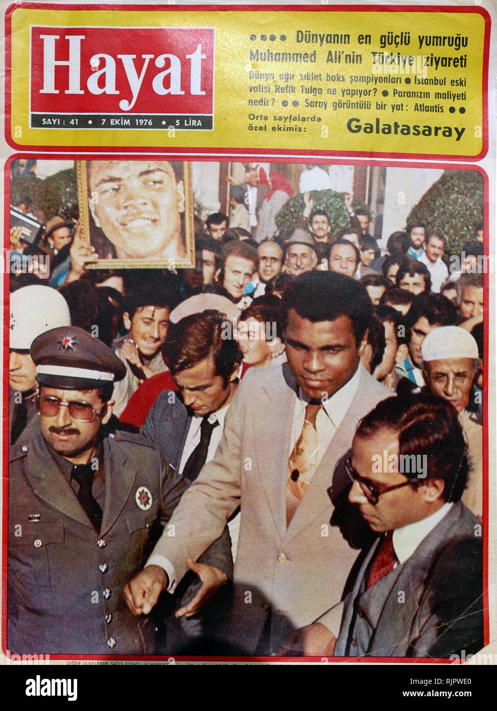 Turkish press coverage of the 1976, visit to Turkey by Muhammad Ali,(1942 - 2016). Ali was an American professional boxer and activist; He is widely regarded as one of the most significant and celebrated sports figures of the 20th century. Stock Photo
