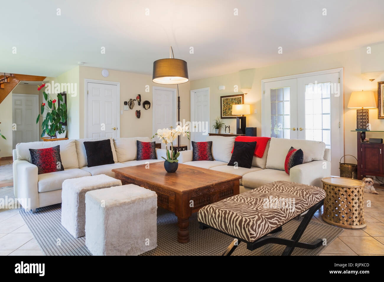 Beige Upholstered Sofas With Colourful Cushions Wooden Coffee Table And Zebra Motif Ottoman In Living Room Stock Photo Alamy