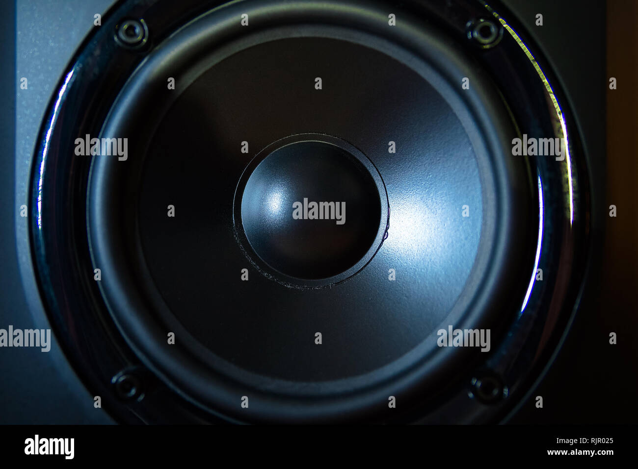 Close up of professional loudspeaker at music studio. Dance, disco, entertainment Stock Photo