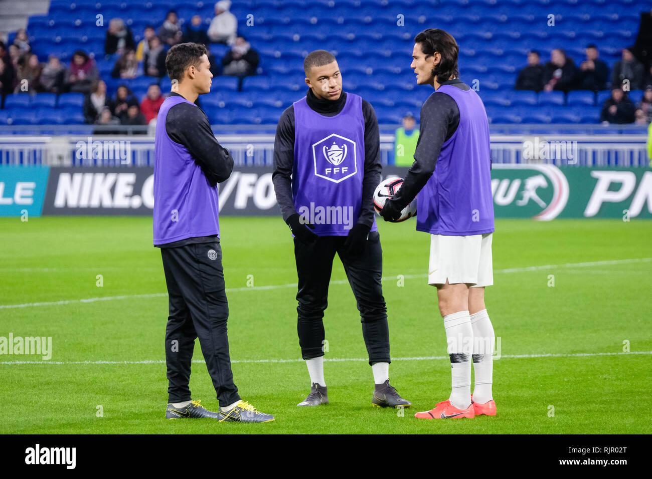 Thiago Silva, Kylian Mbappé and Edinson Cavani to warm up - Stock Image