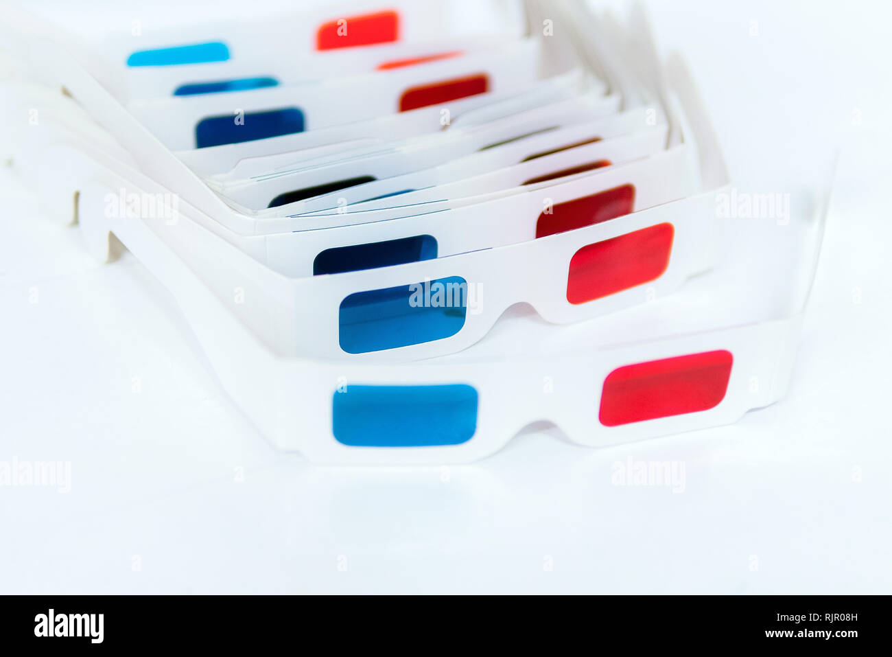 Side view of 3D glasses Isolated on white background. Modern movie screening event - Stock Image