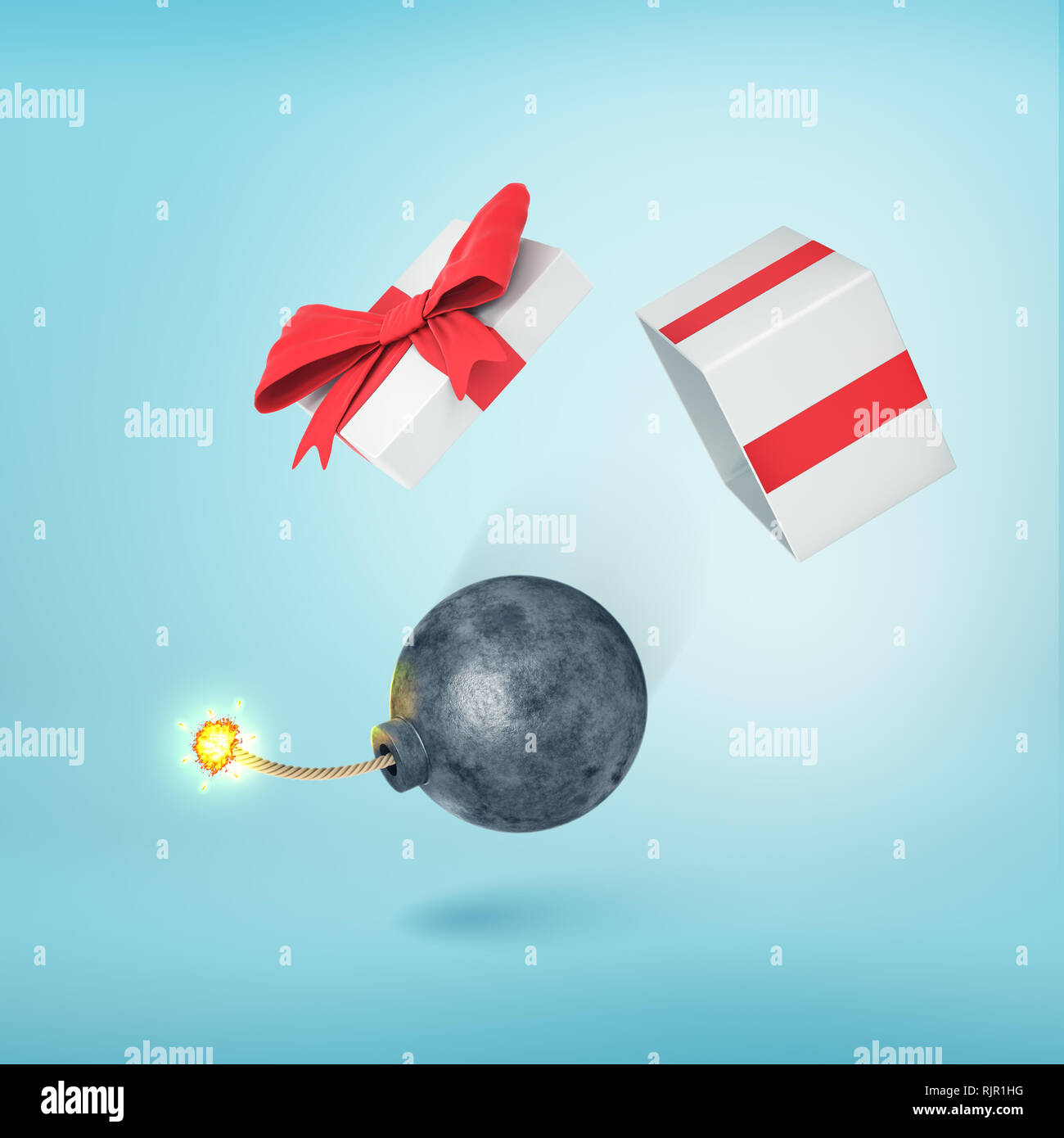 947cf94e1e093 3d rendering of an overturned gift box with a black iron bomb falling out  of it