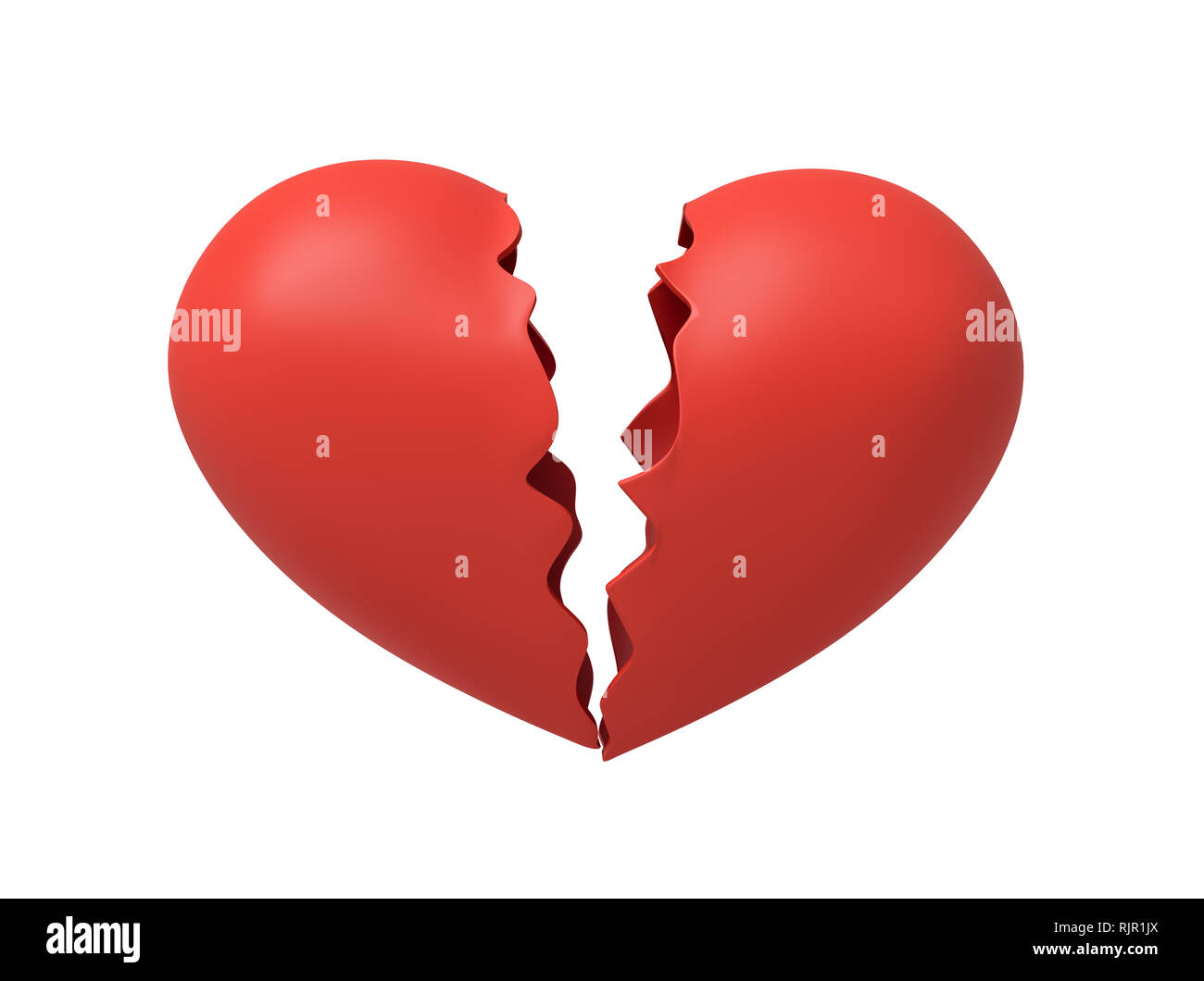 3d rendering of red broken heart isolated on white background. Digital art. Concept ideas. Feelings and emotions. - Stock Image
