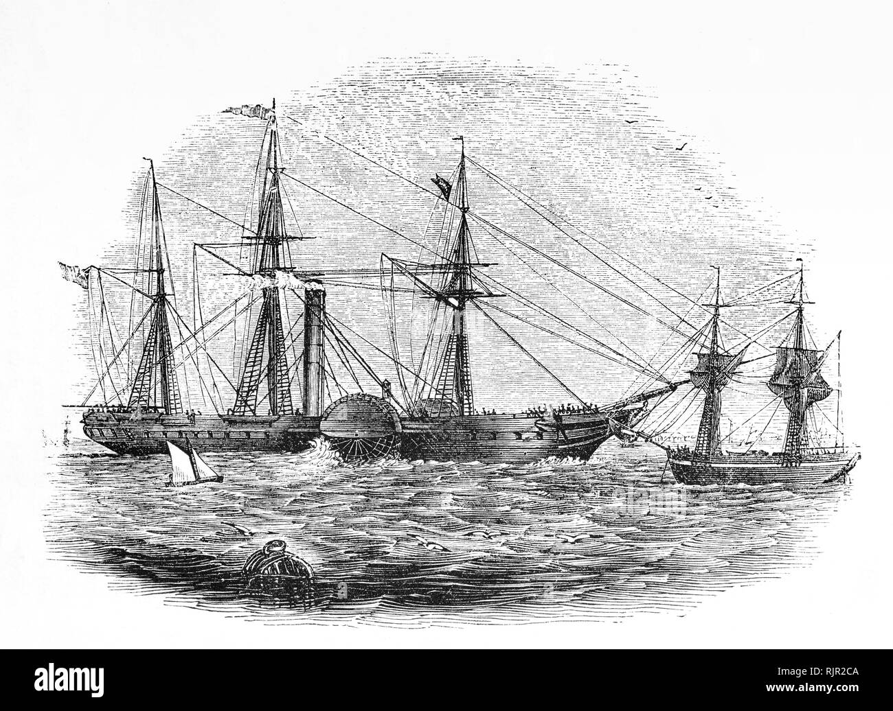 During the 18th Century, sailing ships made the journey from Europe to America. However, they were at the mercy of the weather and journey times could vary from 14 days to four weeks, and people  increasingly looked towards steam propulsion as a means of overcoming the problems of sail. The first paddle-steamer to make a long ocean voyage crossing the Atlantic Ocean  set out for Liverpool on May 22, 1819, sighting Ireland after 23 days at sea. In mid 19th Century, a number of paddle-steamers were crossing the Atlantic, but  became much less useful after the invention of the screw propeller. - Stock Image