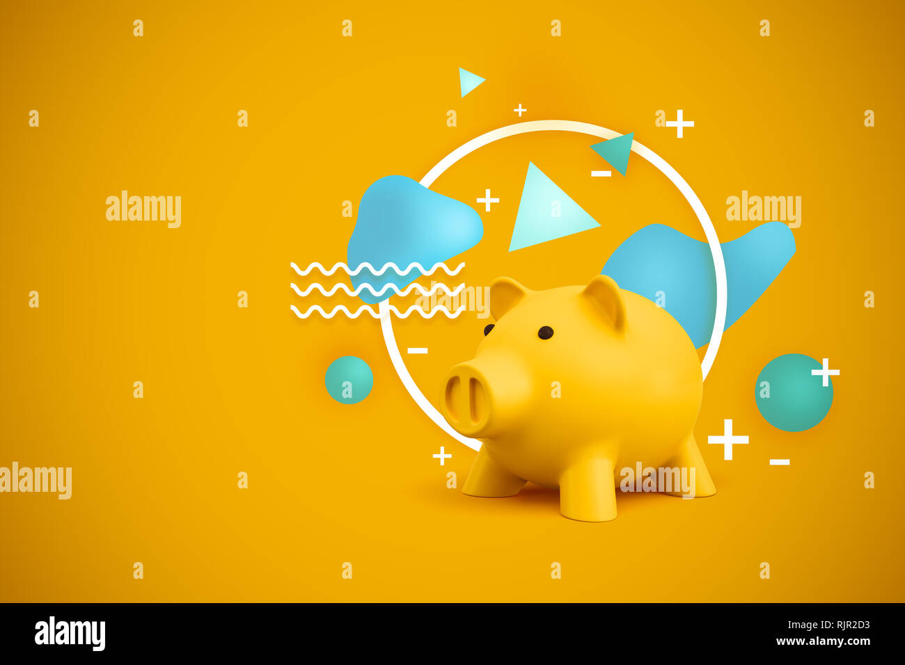 1f8835eaec8 3d rendering of a yellow piggy bank with miscellaneous shapes behind it on  a yellow background. Money and finance. Accumulating facts and ideas. Gaini