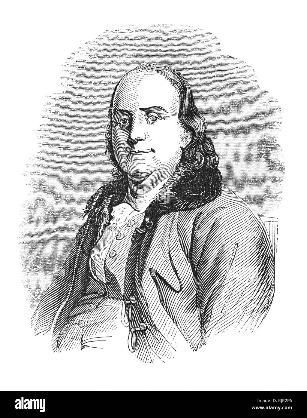 A portrait of Benjamin Franklin (1706-1790), an American polymath and one of the Founding Fathers of the United States. Franklin was a leading author, printer, political theorist, politician, freemason, postmaster, scientist, inventor, humorist, civic activist, statesman, and diplomat. As a scientist, he was a major figure in the American Enlightenment and the history of physics for his discoveries and theories regarding electricity. As an inventor, he is known for the lightning rod, bifocals, and the Franklin stove, among other inventions. - Stock Image
