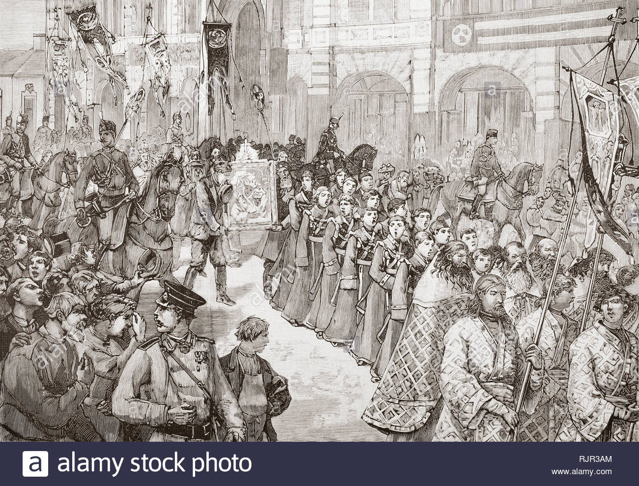 The fifth cholera pandemic, 1881-1896. A religious procession in Saint Petersburg, Russia in 1892 to pray for the disappearance of Cholera.  From La Ilustracion Espanola y Americana, published 1892. - Stock Image