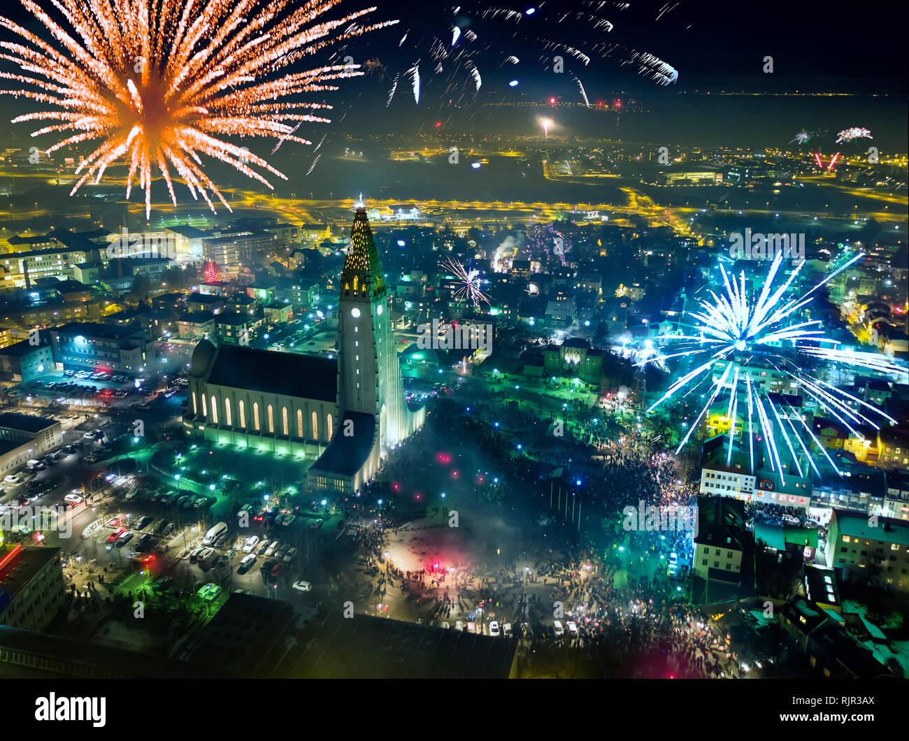 New Year's Eve Celebrations, Reykjavik, Iceland - Stock Image