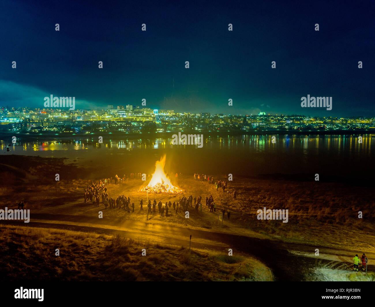 New Year's Eve Celebrations with bonfires, Reykjavik, Iceland - Stock Image
