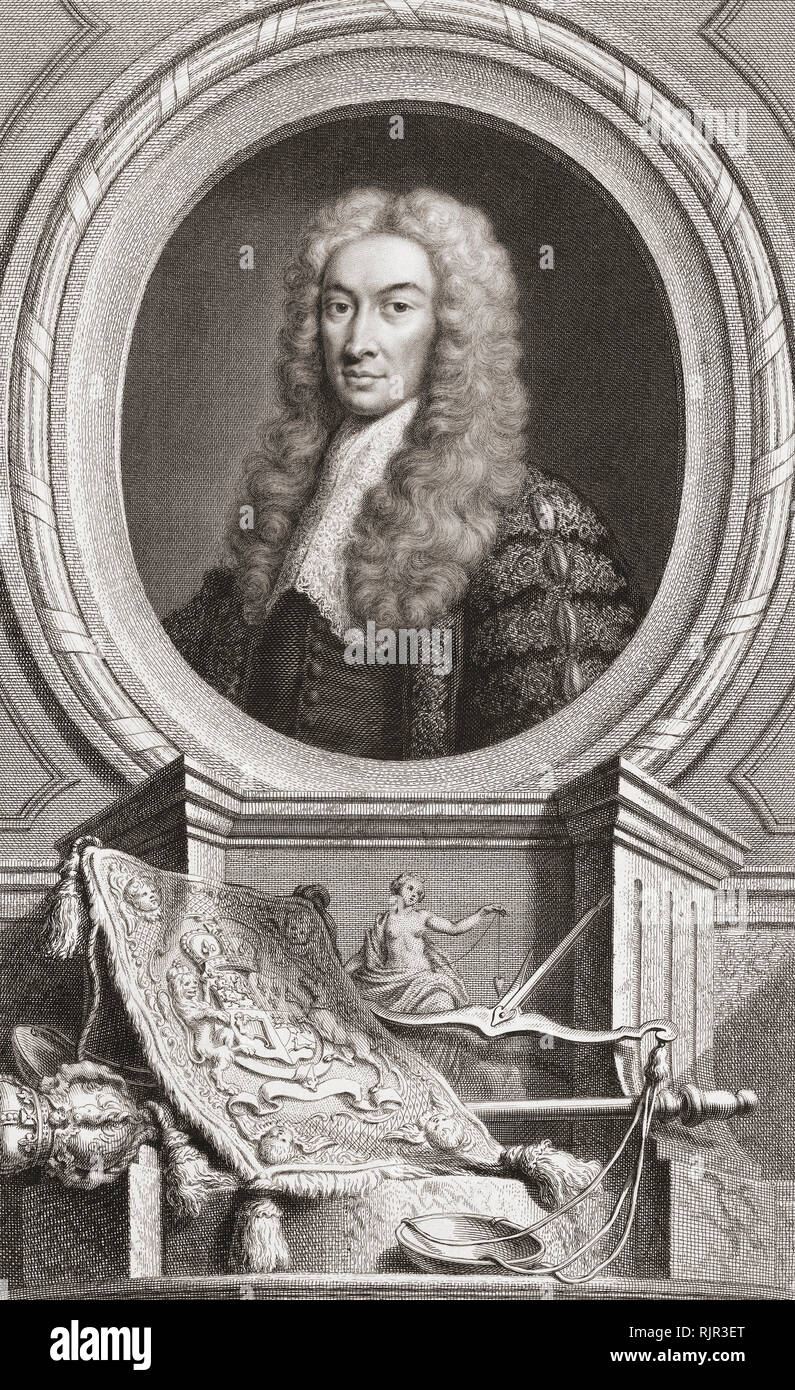 Charles Talbot, 1st Baron Talbot of Hensol, 1685 – 1737. British lawyer and politician.  Lord Chancellor of Great Britain.  From the 1813 edition of The Heads of Illustrious Persons of Great Britain, Engraved by Mr. Houbraken and Mr. Vertue With Their Lives and Characters. - Stock Image