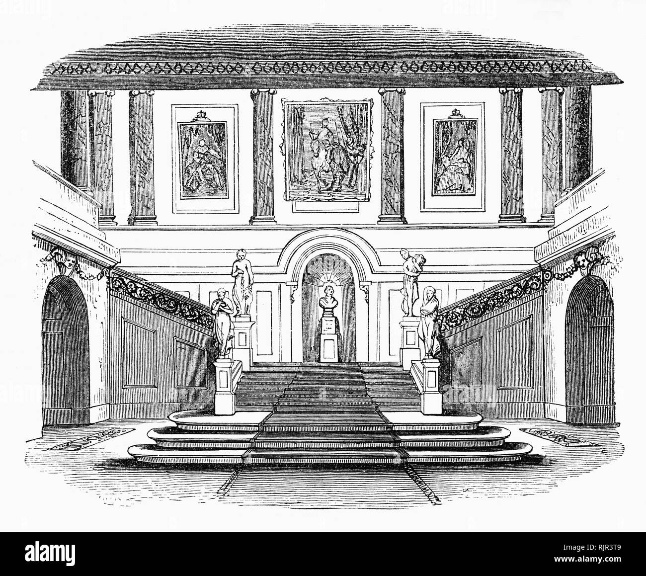 The interior of Goldsmiths' Hall at the junction of Foster Lane and Gresham Street in the City of London. It has served as an assay office and the headquarters of London's goldsmith guild, the Worshipful Company of Goldsmiths, one of the livery companies of the City of London,  since 1339. This the third hall was designed by Philip Hardwick and those present at the opening dinner in 1835 included the Duke of Wellington and Robert Peel. - Stock Image