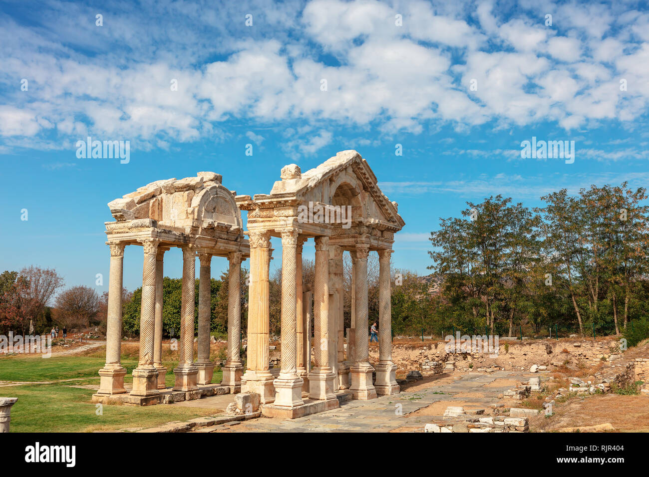 The Tetrapylon (monumental gate) at an archaeological site of Helenistic city of Aphrodisias in  western Anatolia, Turkey. - Stock Image