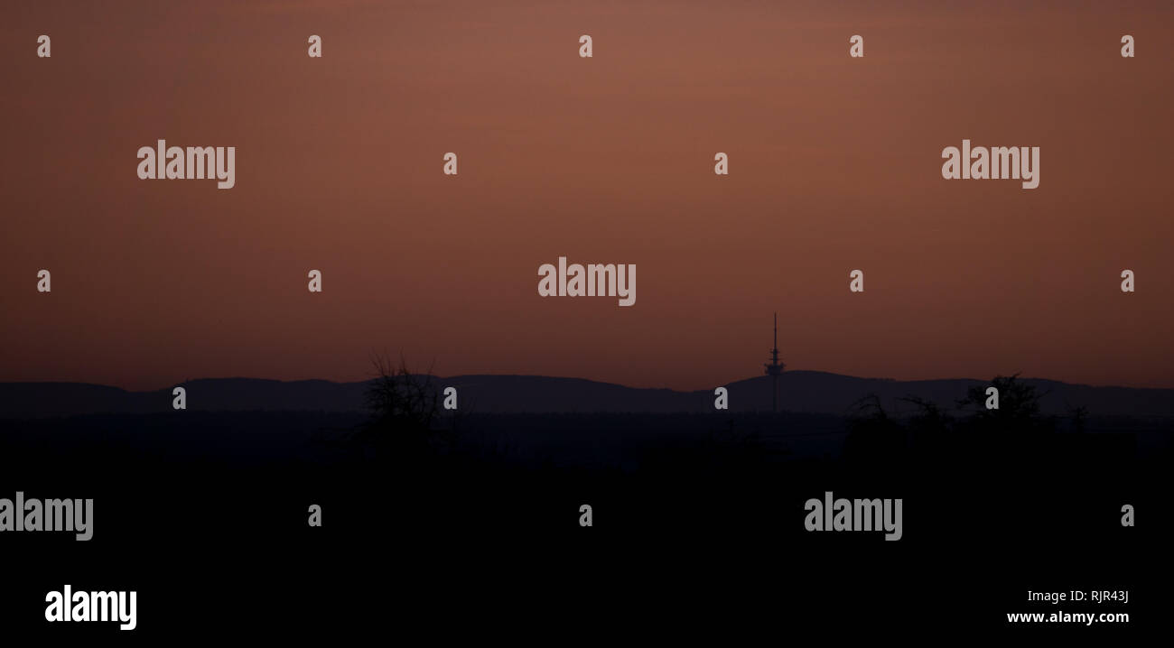 swabian alb in the sunset - Stock Image