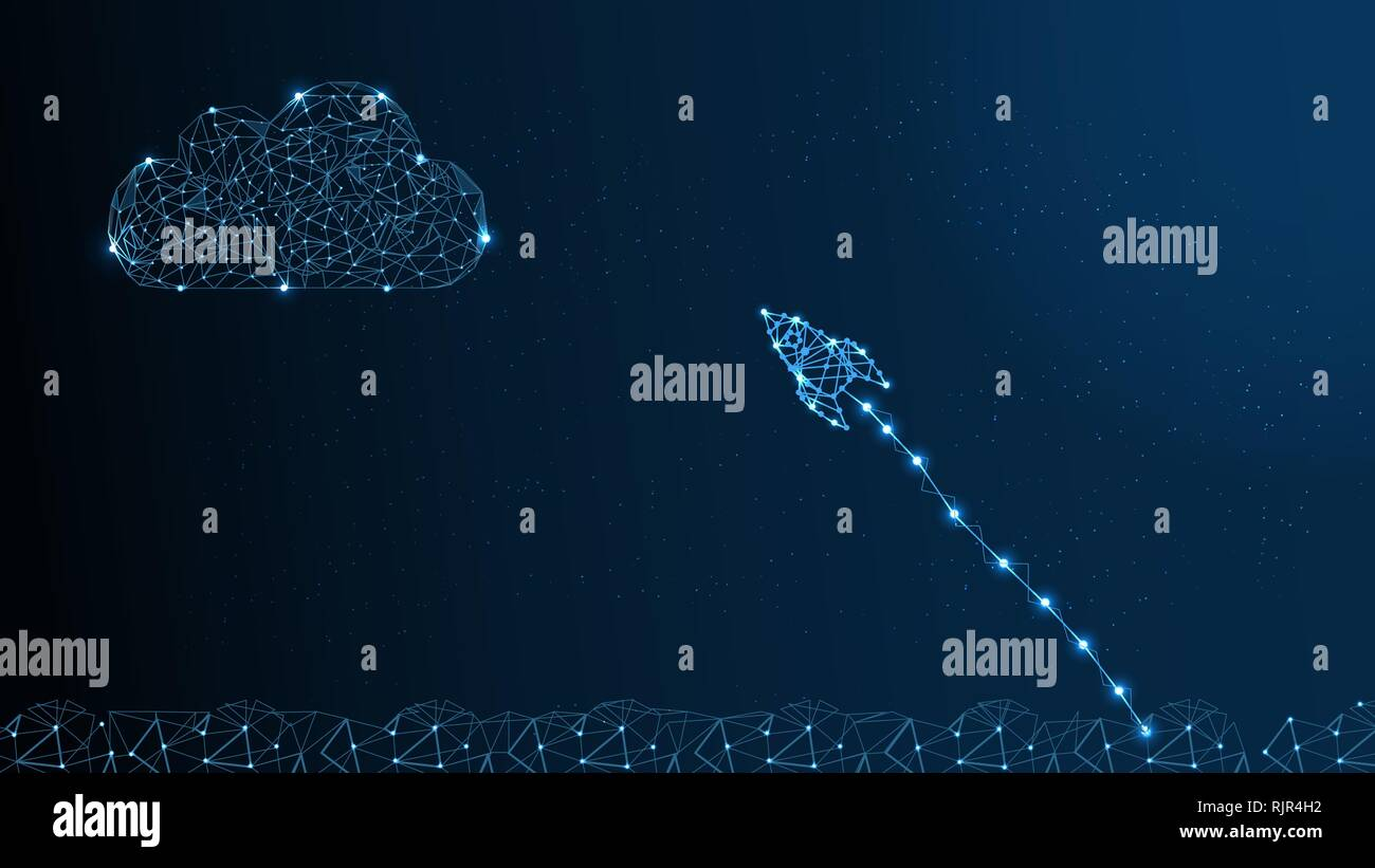 Rocket Made by Points and Lines, Polygonal Mesh with Stars on Night Sky above Clouds. Business Startup Concept from Wireframe with Spaceship. Vector Stock Vector