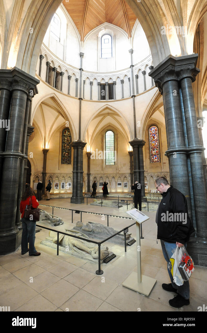 Romanesque Temple Church built 1185 by Knight Templars known from Dan Brown's 2003 best-selling novel The Da Vinci Code and the movie with Tom Hanks.  - Stock Image