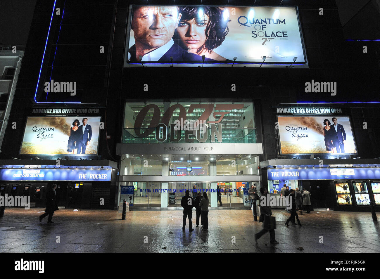 James Bond film Quantum Of Solace poster with Daniel Craig and Olga Kurylenko in Odeon Leicester Square in London, England, United Kingdom. October 28 - Stock Image