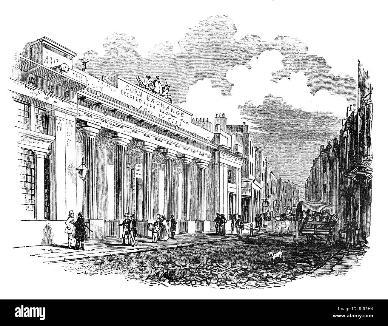 The London Corn Exchange was  designed by George Dance the Elder in the classical style, around a courtyard where Corn merchants could meet and arrange pricing with farmers for the sale of wheat, barley and other corn crops.  In 1826 a rival exchange was set up by a group of discontented traders (the London Corn Exchange) who established their 'new' exchange, in Mark Lane, immediately alongside the 'old' exchange. It was designed, in the Greek style, by George Smith and opened in 1828. In 1882, the 'Old Exchange' was largely demolished and replaced by a far larger building (designed by Edward  - Stock Image