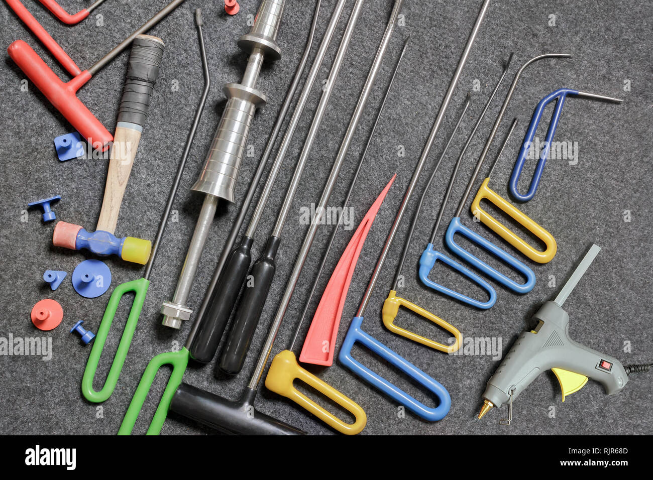 Tools for removing dents on the car body without painting Stock Photo