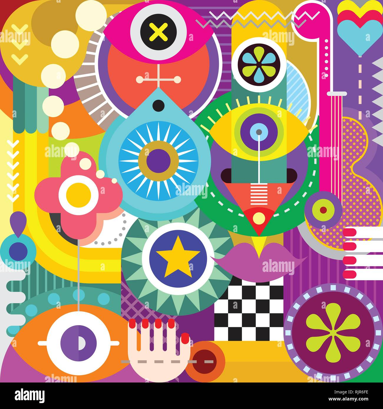 Abstract art vector illustration  Decorative collage of