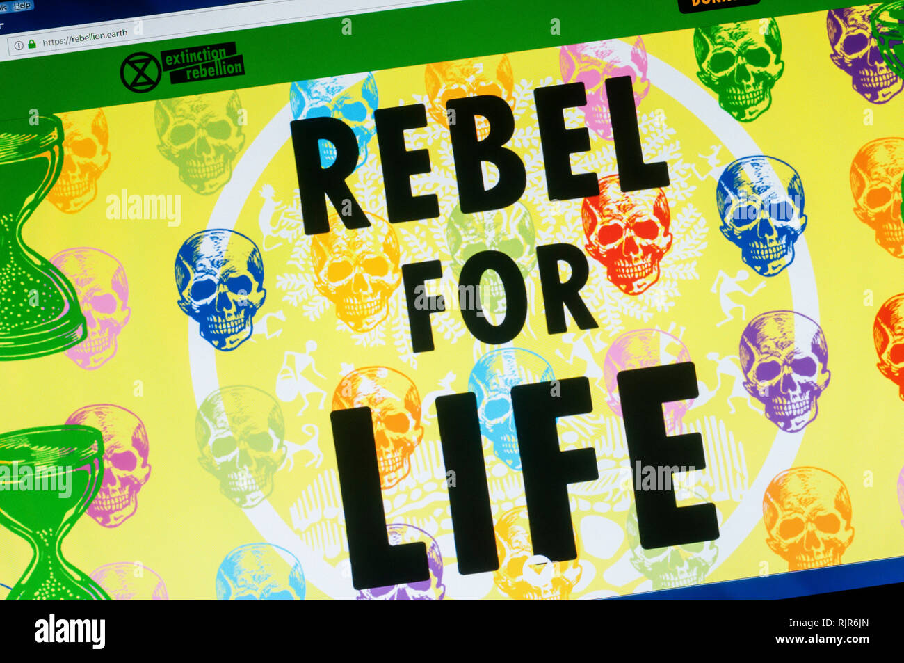 Home page of the website of Extinction Rebellion the international social movement protesting about climate change. - Stock Image