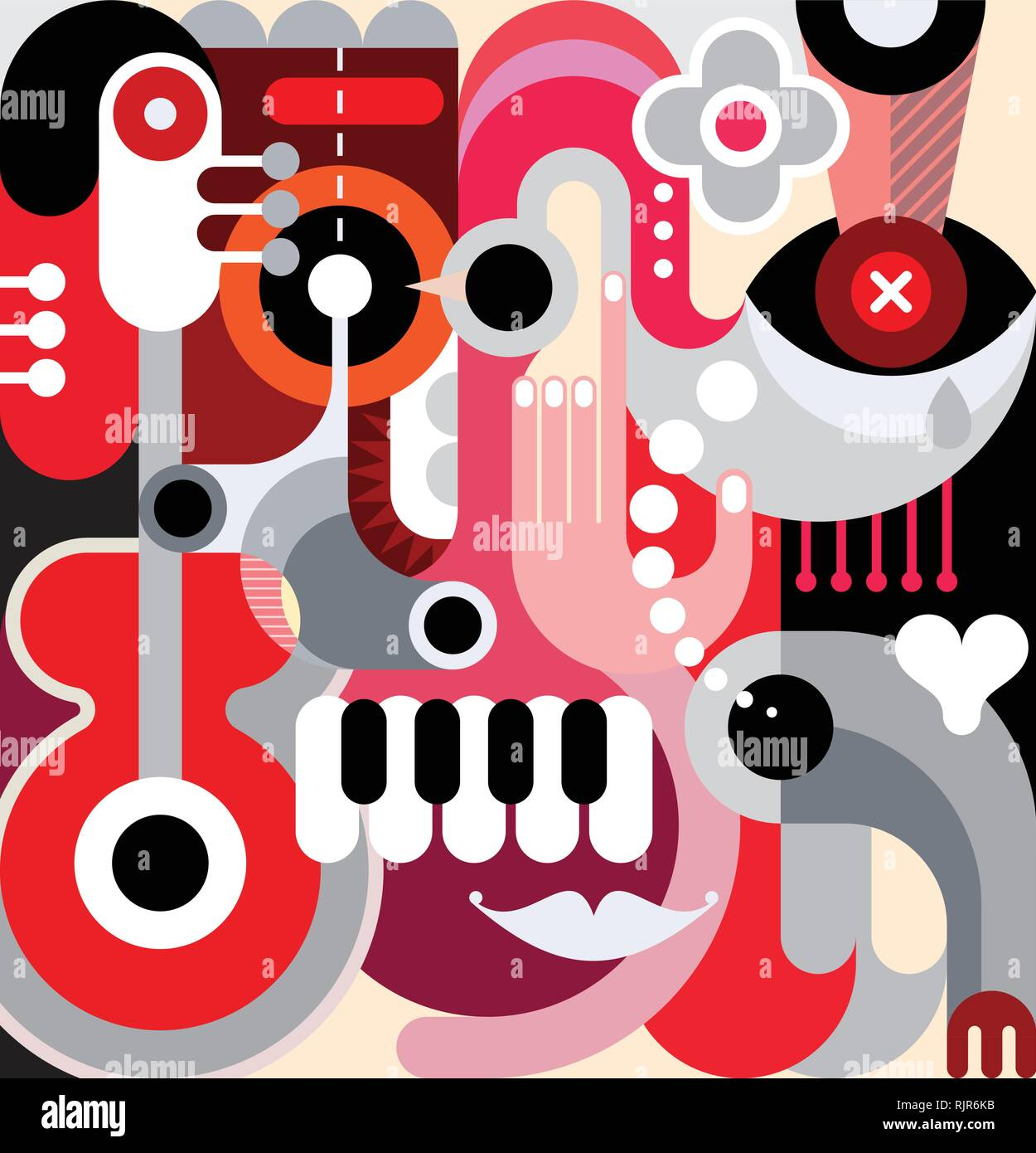 Abstract art vector background  Decorative collage of