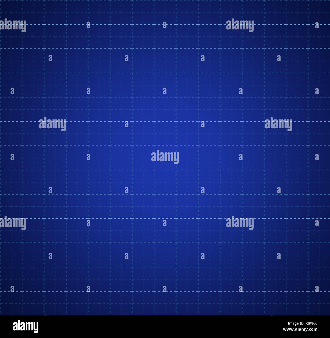 Simple abstract square grid made of dashed lines on blue background, darker on the edges. - Stock Image