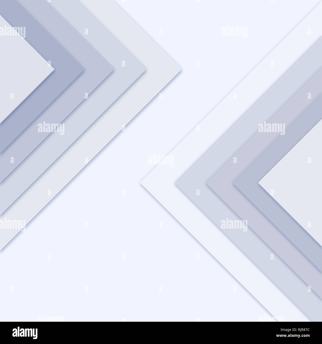 Large monochrome triangles with drop shadows on top of each others, blue hue. Simple abstract pattern for design or background. Stock Photo