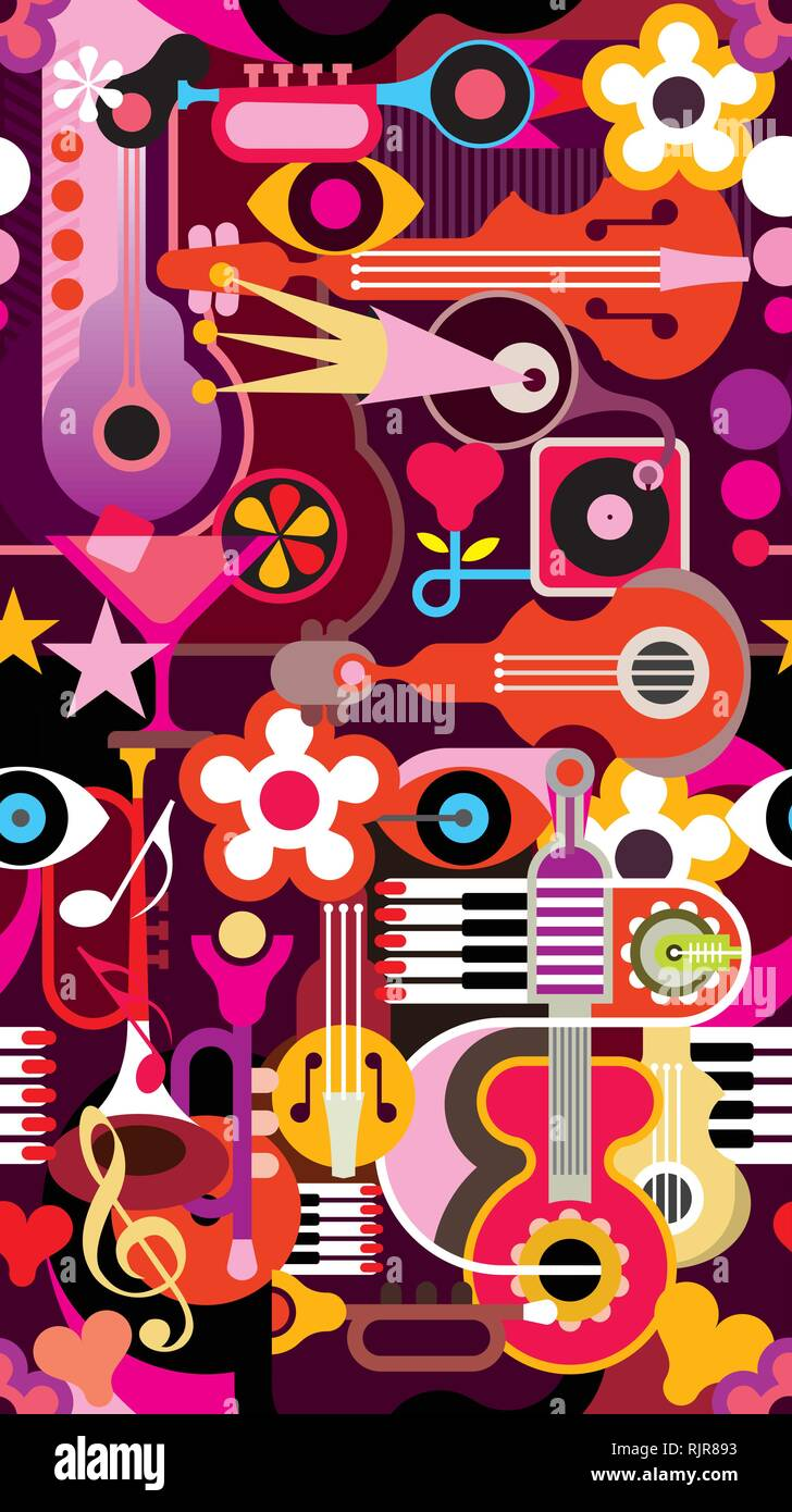 Abstract Music Background Seamless Vector Wallpaper