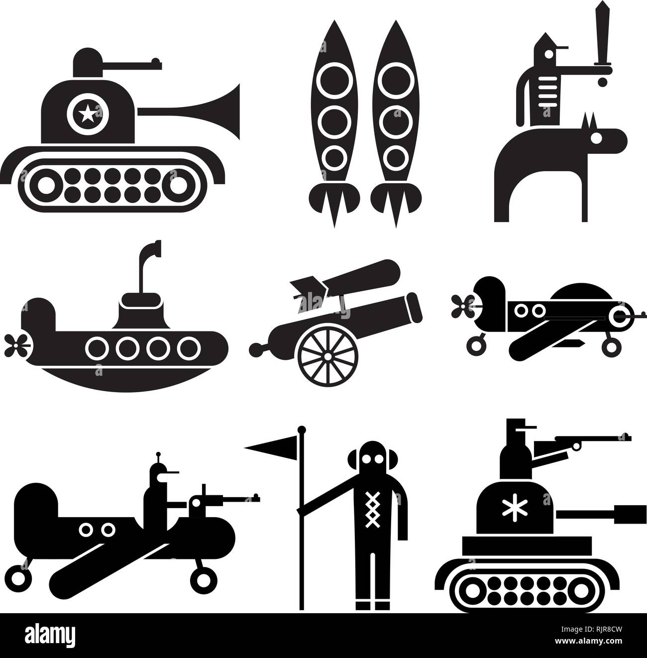 Military icons set. Isolated black vector icons on white background. - Stock Image