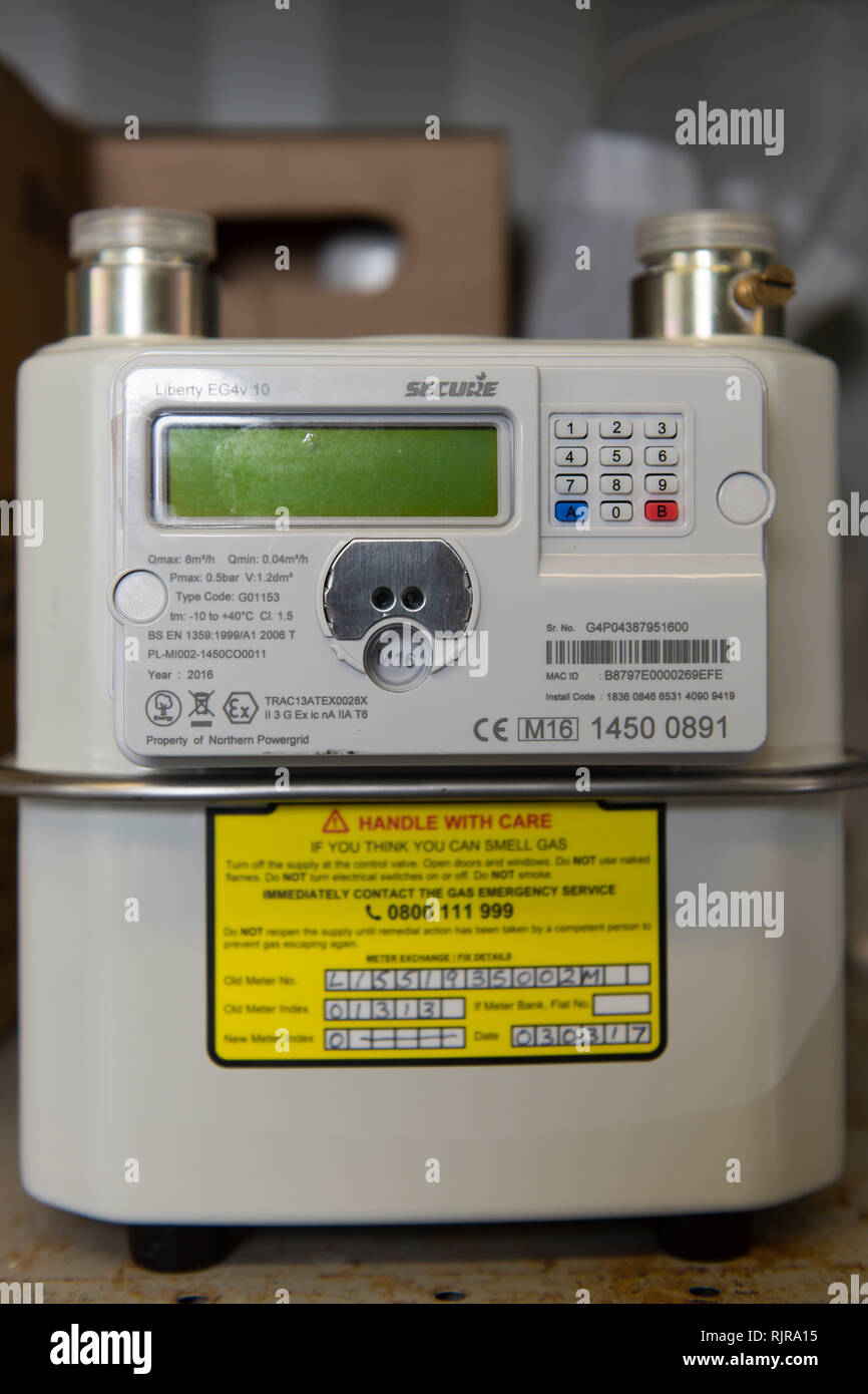 A new gas and electric smart meter. - Stock Image