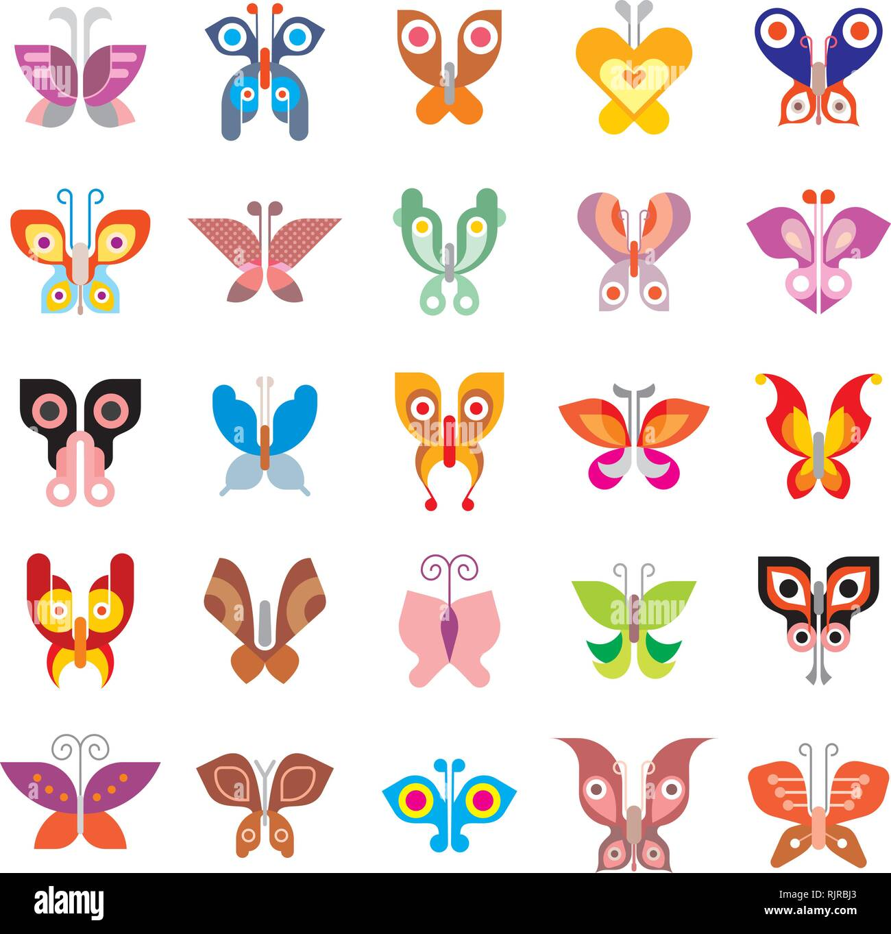Butterfly - large set of isolated vector icons on white background. Can be used as logo (logotypes). - Stock Vector