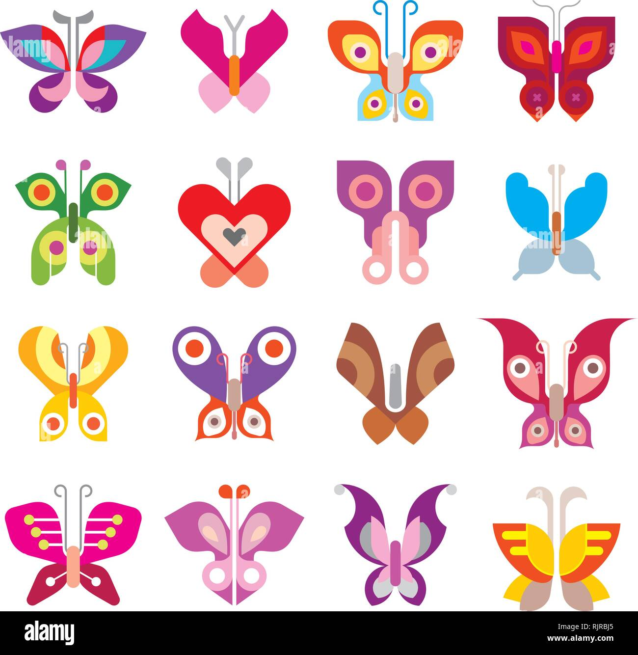 Butterfies - large set of isolated vector icons on white background. Can be used as logo (logotypes). - Stock Vector