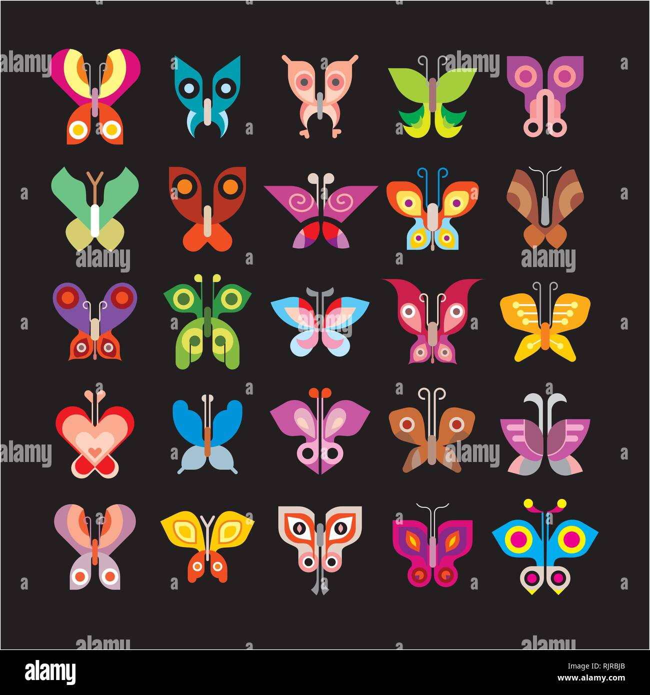 Butterfly - large set of isolated vector icons on black background. Can be used as logo (logotypes). - Stock Vector