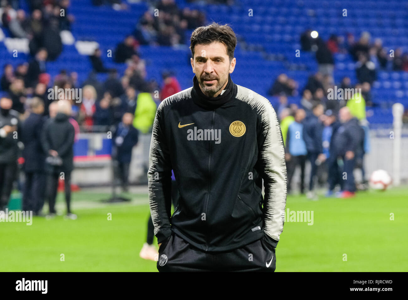 Gianluigi Buffon, goal warming up with your hands in your pockets. - Stock Image