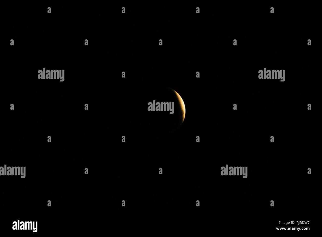 Total lunar eclipse on January 21, 2019 - Stock Image
