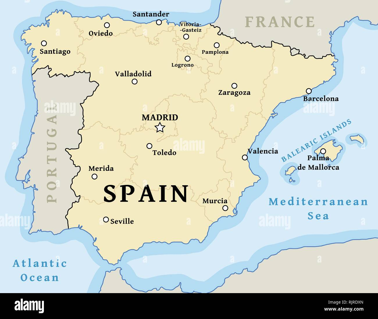 Map of Spain - vector illustration with cities and provinces. Stock Vector