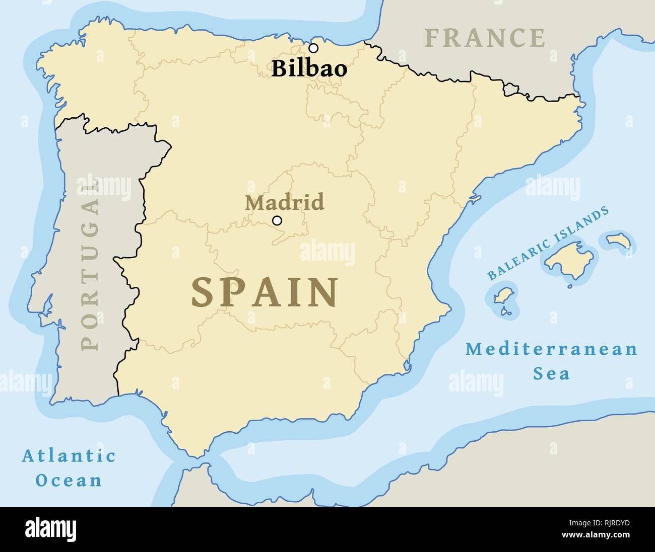 Bilbao On Map Of Spain.Bilbao Map Location Find City On Map Of Spain Vector Illustration