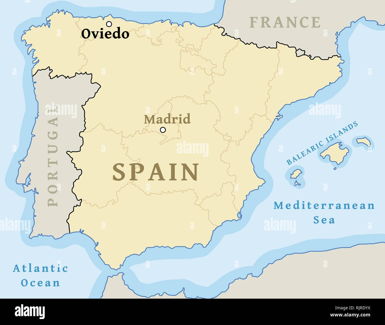 Map Of Spain Oviedo.Oviedo Map Location Find City On Map Of Spain Vector Illustration
