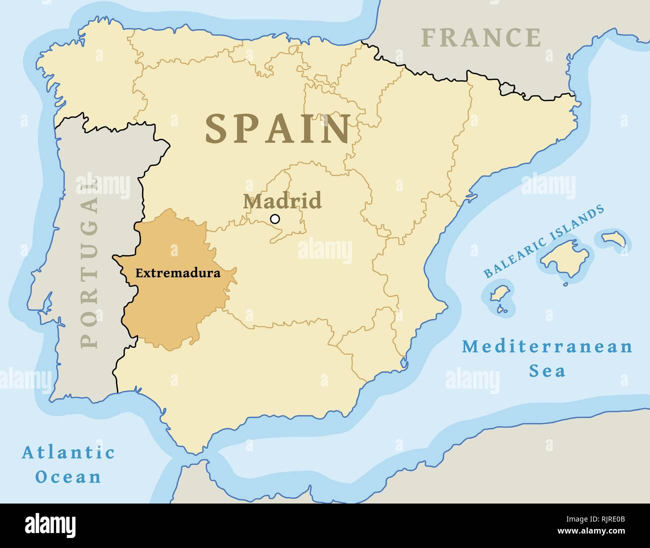 Map Of Spain Extremadura.Map Of Extremadura Stock Photos Map Of Extremadura Stock Images