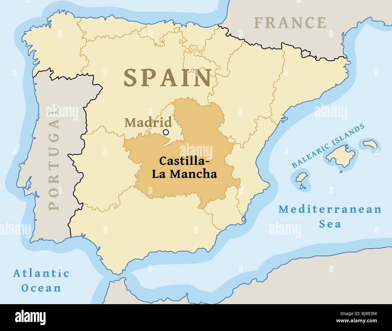 La Mancha Spain Map.Castilla La Mancha Autonomous Community Location Map Within Spain