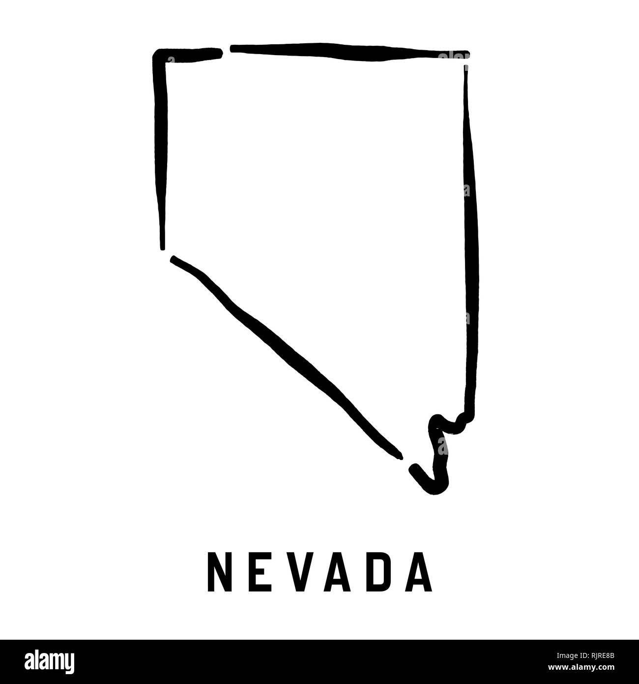 U S State Map Vector.Nevada Simple Logo State Map Outline Smooth Simplified Us State